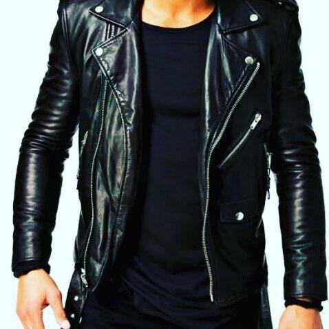 Leather slim fit Biker Style jacket