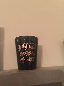 JACK Daniels Discontinued Vintage Black Ceramic Gold Squiggly Fancy Shot Glass