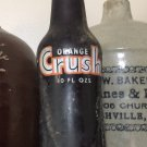 Vintage Orange Crush 10 oz Amber Brown Soda Bottle Ribbed Glass Evanston IL