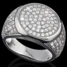166 Round Cut AAA Created Diamonds/Sterling Silver/Men's Ring Size 9 1/2