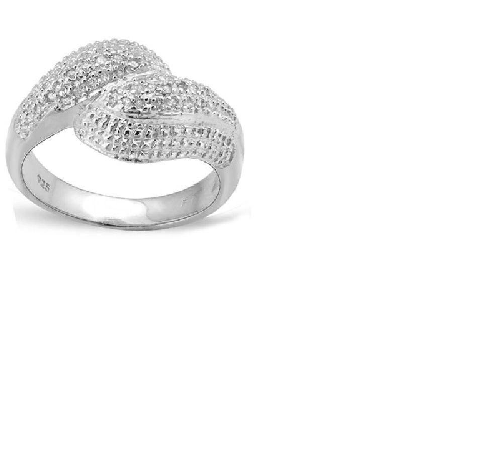 52 Round Cut Diamonds/18k White Gold/Sterling Silver/Size 7 Ring