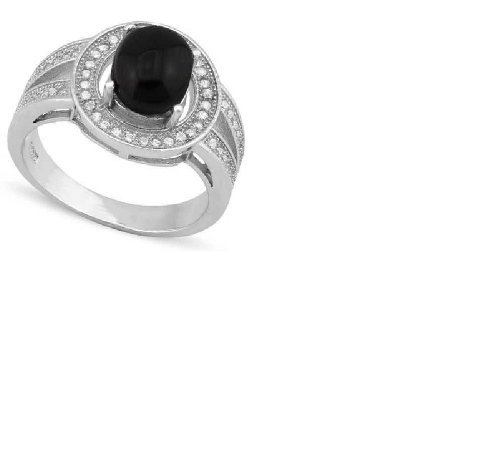 Black Onyx/Created Sapphire/Sterling Silver/Size 7 Ring