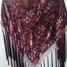 Bellissime Accessories Shawl Silk Rayon Velvet Maroon Paisley Beads Tassels