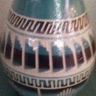 "Navaho Pottery Vase Handmade Blue White Turquoise Black 6"" x 4 1/2"""