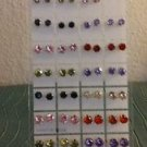 Lot of 34 Crystal Zirconia Round Cut Stud Earrings with Holder Multiple Colors