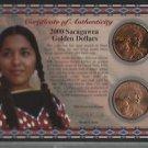 Rare 2000 Sacagawea Golden Dollars P & D Set COA Teton Letter Glenna Goodacre