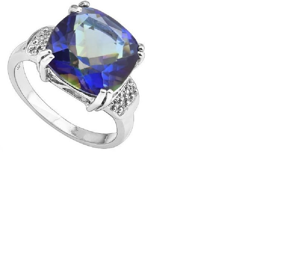 Blue Mystic Gemstone/16 Round Cut Diamonds/Sterling Silver/Size 7 Ring
