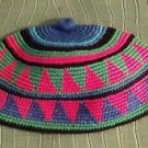 "African Burkina Cap Hat Hand Woven 100 % Cotton 21"" Boho Blue Pink Mulitcolor"