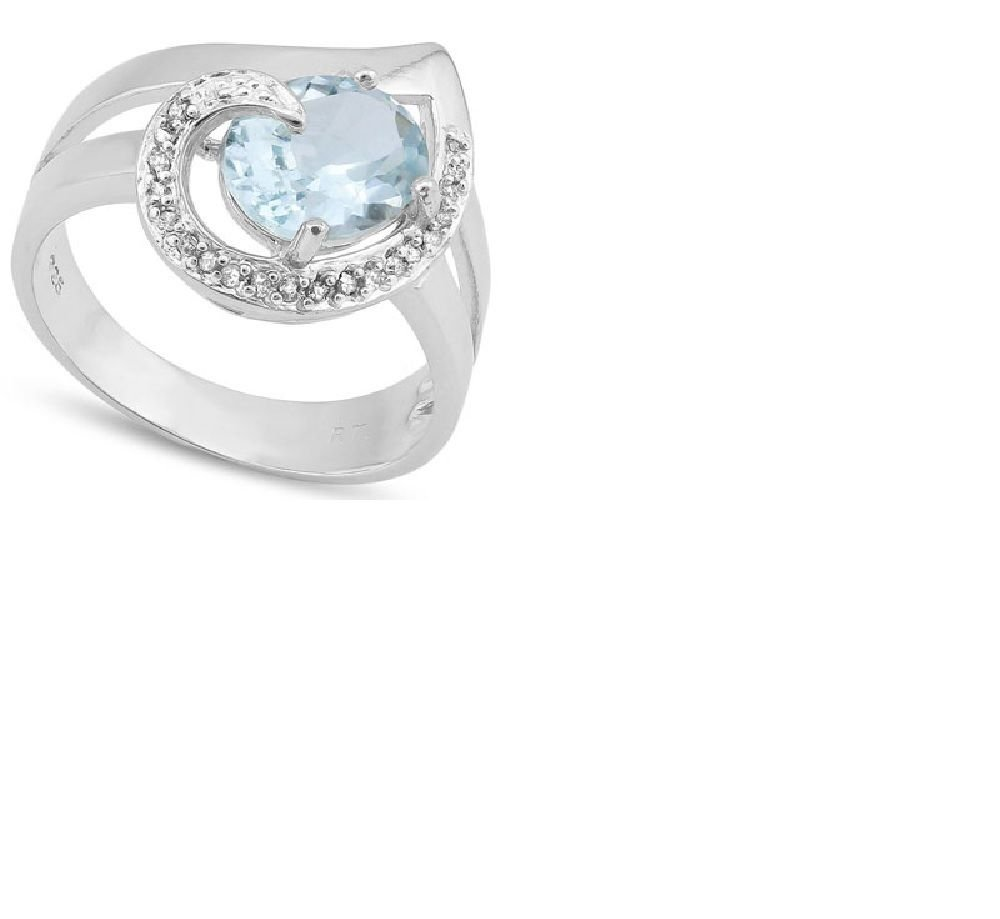 Blue Topaz/20 Round Cut Diamonds/Sterling Silver/Size 7 Ring