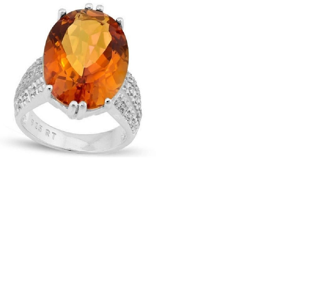 Oval Azotic Gemstone/22 Round Cut Diamonds/Sterling Silver/Size 7 Ring