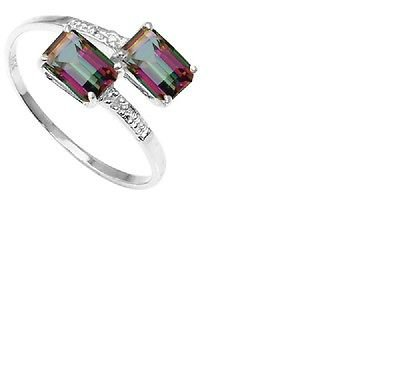 Emerald Cut Mystic Gemstone/6 Round Cut Diamonds/10kt White Gold/Size 7 Ring