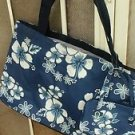 "Large Hawaiian Floral Tote & Cosmetics 2 Bags Navy & White Shopping 18"" x 12"""