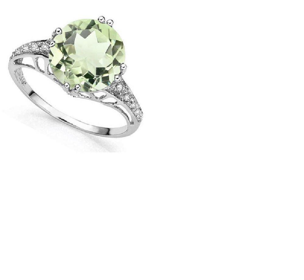 Amethyst/10 Round Cut Diamonds/Platinum/Sterling Silver/Size 7 Ring