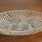 """Vintage Cut Crystal Oval Dish Handles Clear Glass Pattern Butter Snacks 9"""" x 4"""""""