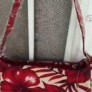 "Hawaiian Pattern Purse Red White Strap Zipper Closing 10"" x 5"" NWT"
