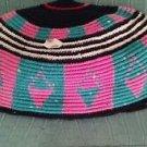 "African Tam Hat Cap 100 % Cotton Handwoven Green Pink Black White 21"""