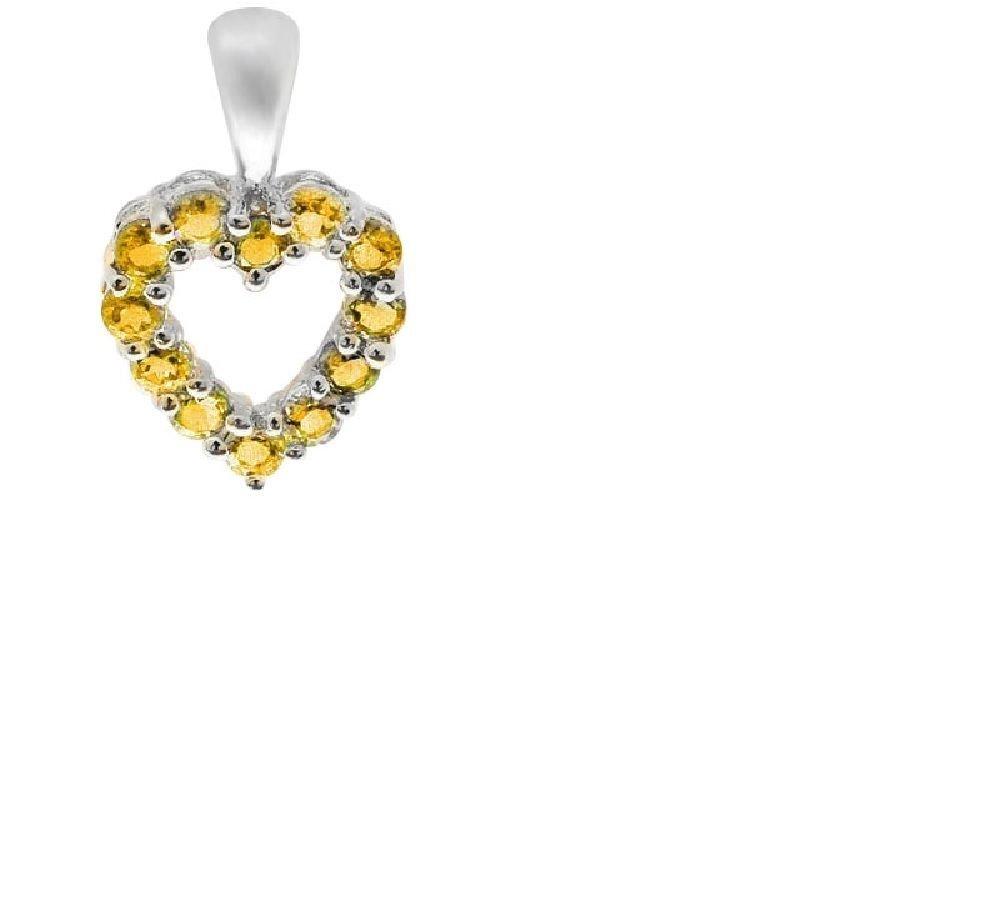 2/5 Carat Golden Yellow Citrine Heart Pendant/0.925 Sterling Silver
