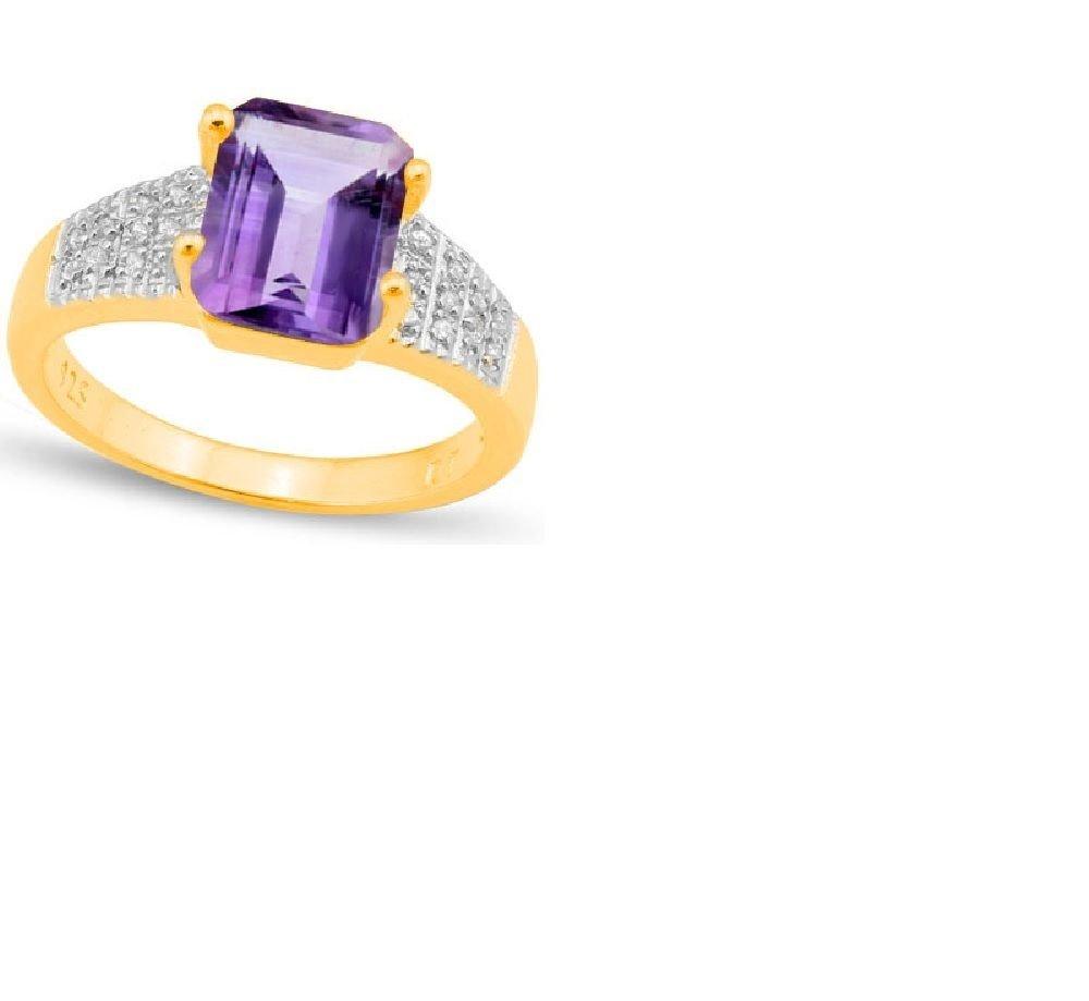 20 Brilliant Cut Diamonds/Lavender Amethyst/Platinum/Sterling Silver/Size 7 Ring