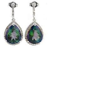 2 Green Mystic Gemstone/16 Diamonds/Sterling Silver/Dangling Earrings