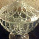 "Vintage Clear Crystal Cut Glass Candy Nut Dish Pedistal Lid 7"" x 6"""