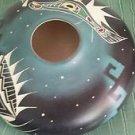 "Pottery Navaho Handmade Flate Plate Bowl Blue Black White Green Red 9"" x 3"""