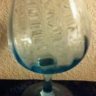"Vintage Large Swirling Green Wine Glass Goblet  9"" High"