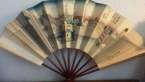 "Vintage Japanese Fan Folding Wooden Paper City Scene Signed 11"""