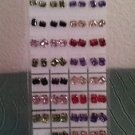 Lot of 35 Crystal Zirconia Emerald Cut Stud Earrings with Holder Multiple Colors