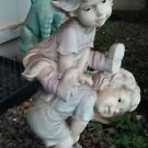"""Lawn Ornament Girl Jumping Over Boy Sculpture Resin Statue Yard Outdoor 19"""" x 6"""""""