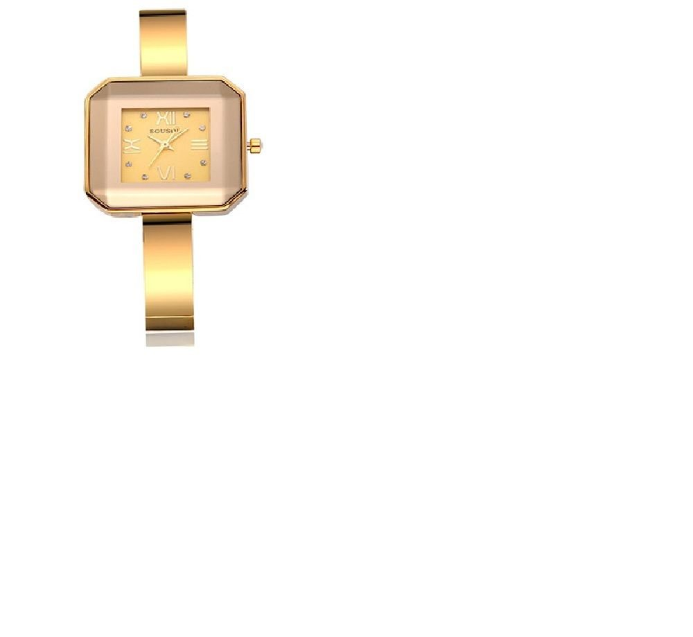 Large Square Face/Crystals/Roman Numerals/Yellow Gold Colored Ladies Watch
