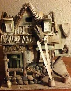 "Vintage Wood Stone Bird House Island Tiki Cafe Bar Windows Logs 10"" H x 9""L x 7"""