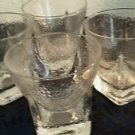 Vintage Whiskey Glasses Set of 4 Heavy Textured Clear Glass Square Bottom