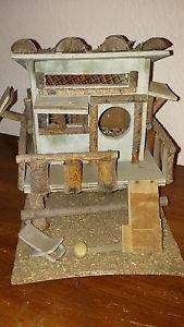 "Vintage Wooden Bird House Tree House Deck Ramp Lounge Chair Windows Logs 9"" H"