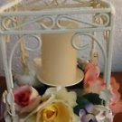 Vintage Candle Holder Gazebo Pagoda Faux Floral Arrangement Wrought Iron Metal