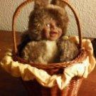 """Avon Anne Geddes Baby Squirrel in Basket Yellow Ruffless Doll """" Card"""