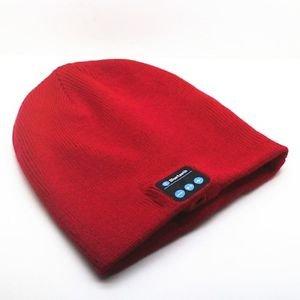 Red Beanie Hat Wireless Bluetooth Smart Cap Headset Headphone Speaker Mic