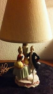 Vintage Victorian Ceramic Lamp Desk Table Courting Dancers Mid Century Japan
