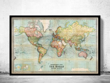 Old World Map 1914 Mercator Projection - fine reproduction