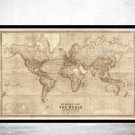 Old World Map 1914 Mercator Projection - SEPIA - fine reproduction