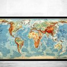 BEAUTIFUL WORLD MAP VINTAGE ATLAS MERCATOR PROJECTION 1950 - fine reproduction