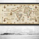 OLD WORLD MAP PORTUGUESE DISCOVERIES 1573 - fine reproduction