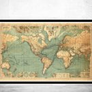 GREAT VINTAGE WORLD MAP IN 1882 - fine reproduction
