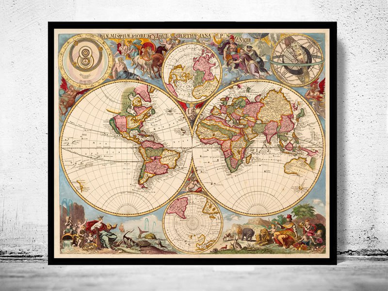 ANTIQUE WORLD MAP 1700 - fine reproduction