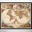ANTIQUE WORLD MAP 1700 - fine reproduction