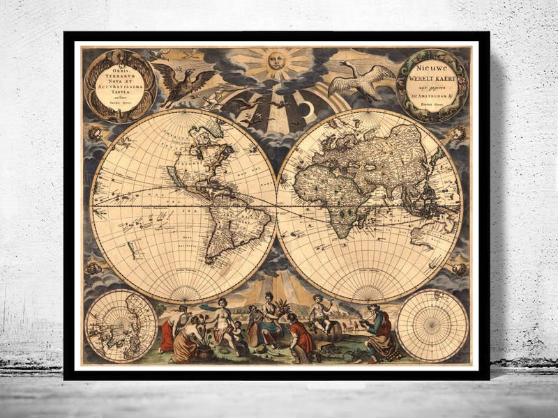 OLD WORLD MAP ANTIQUE 1666 - fine reproduction
