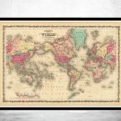 VINTAGE WORLD MAP 1860 MERCATOR PROJECTION - fine reproduction
