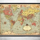 OLD WORLD MAP WORLD VINTAGE POSTER - fine reproduction