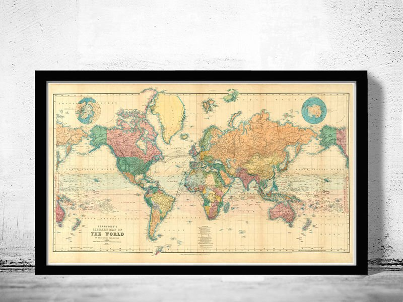 BEAUTIFUL WORLD MAP VINTAGE ATLAS 1898 MERCATOR PROJECTION - fine reproduction