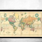 BEAUTIFUL WORLD MAP VINTAGE ATLAS 1898 MERCATOR PROJECTION - fine reproduction