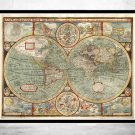 OLD WORLD MAP 1627 TWO HEMISPHERES - fine reproduction